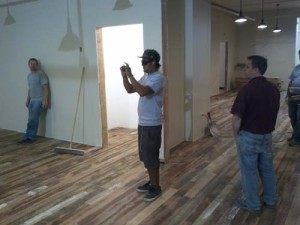reclaimed wood mall install